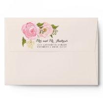 Modern Vintage Pink Floral Personalized Wedding Envelope