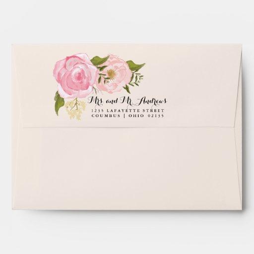 Modern Vintage Pink Floral Personalized Wedding Envelopes