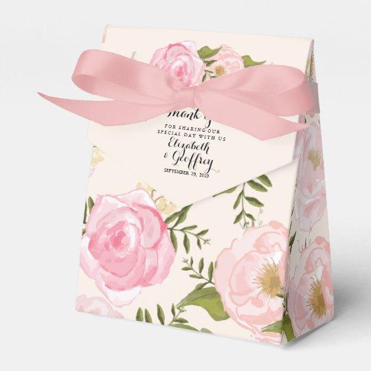 Modern Vintage Pink Fl Personalized Wedding Favor Box