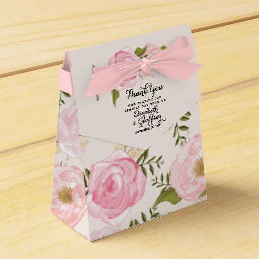 Modern Vintage Pink Floral Personalized Wedding Favor