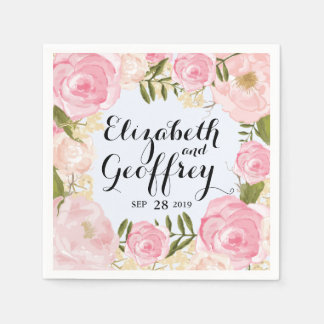 Modern Vintage Pink Floral Personalized Wedding Standard Cocktail Napkin