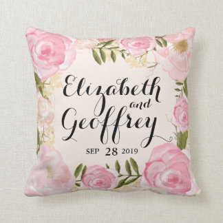 Modern Vintage Pink Floral Personalized Wedding Pillows