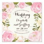 Modern Vintage Pink Floral Save the Date Announcement