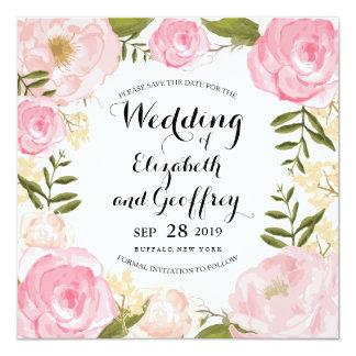Modern Vintage Pink Floral Save the Date Invitation