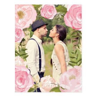 Modern Vintage Pink Floral Save the Date Photo Postcard