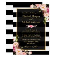 Modern Vintage Pink Floral Stripes Formal Wedding Invitation
