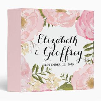 Modern Vintage Pink Floral Wedding Custom 3 Ring Binder