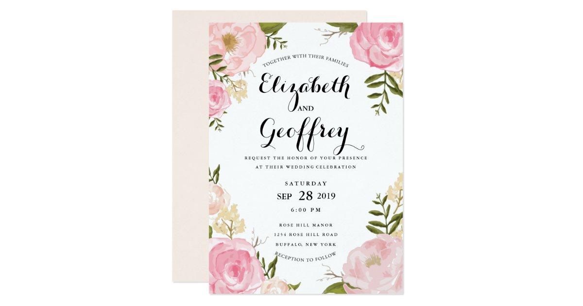 Modern vintage pink floral wedding invitation zazzlecom for Wedding invitation designs fuchsia pink