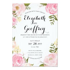 Modern Vintage Pink Floral Wedding Invitation 5
