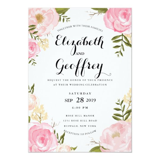 Flower clipart wedding invitation - Pencil and in color flower ...