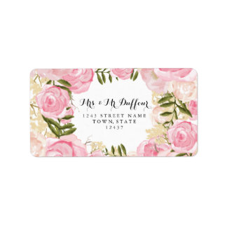 Modern Vintage Pink Floral Wedding Label