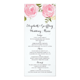 Floral pattern wedding menu gifts on zazzle modern vintage pink floral wedding menu card mightylinksfo