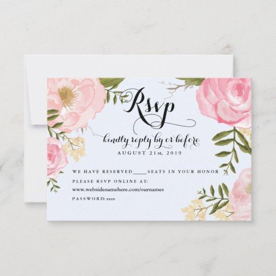 Modern Vintage Pink Floral Wedding Online RSVP