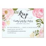 """Modern Vintage Pink Floral Wedding Online RSVP 3.5"""" X 5"""" Invitation Card"""