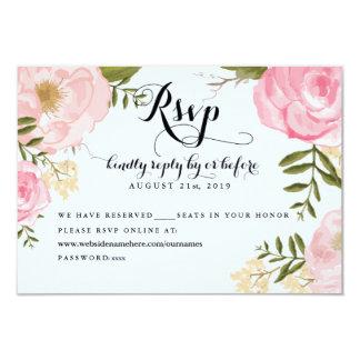 Modern Vintage Pink Floral Wedding Online RSVP 3.5x5 Paper Invitation Card
