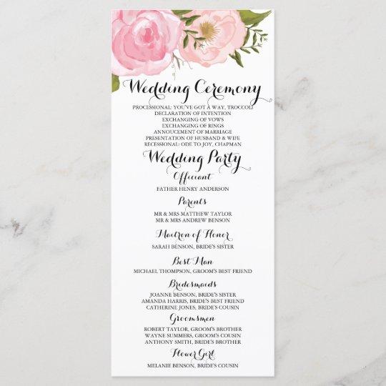 Modern Vintage Pink Fl Wedding Program Card