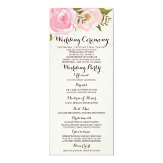 Modern Vintage Pink Floral Wedding Program Card