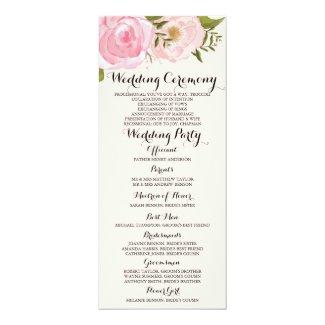 Modern Vintage Pink Floral Wedding Program Card Personalized Invites