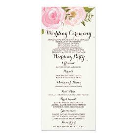 Modern Vintage Pink Floral Wedding Program Card 4
