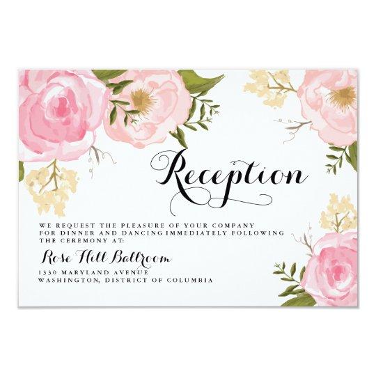 modern vintage pink floral wedding reception card zazzle com