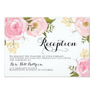 Modern Vintage Pink Floral Wedding Reception Card