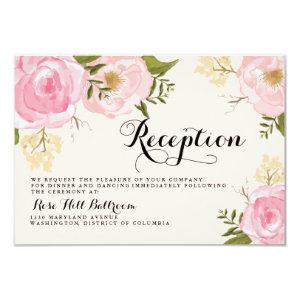 Modern Vintage Pink Floral Wedding Reception Card 3.5
