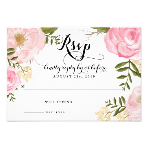 Modern Vintage Pink Floral Wedding RSVP Card Personalized Invites