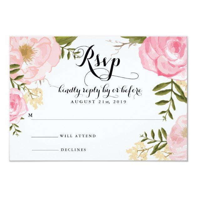 Modern Vintage Pink Floral Wedding RSVP Card | Zazzle