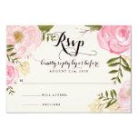 """Modern Vintage Pink Floral Wedding RSVP Card 3.5"""" X 5"""" Invitation Card"""