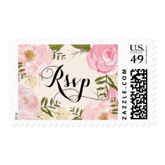 Modern Vintage Pink Floral Wedding RSVP Postage