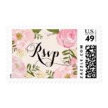 Modern Vintage Pink Floral Wedding RSVP Stamp
