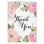 Modern Vintage Pink Floral Wedding Thank You Greeting Card