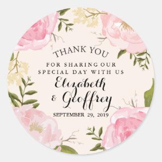 Modern Vintage Pink Fl Wedding Thank You Favor Clic Round Sticker