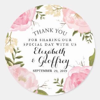 Modern Vintage Pink Floral Wedding Thank You Favor Classic Round Sticker