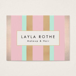 Modern Vintage Pink, Rose Gold Stripes Salon Business Card