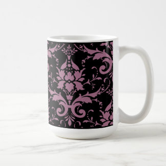 Modern Vintage Purple Damask on Black Mug
