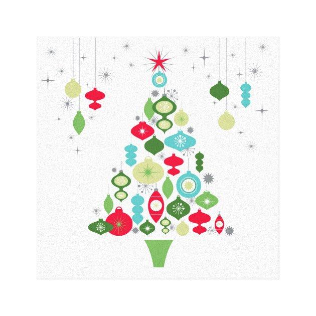 Modern Vintage Retro Christmas Tree Canvas Print Zazzle Com