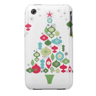 modern vintage retro christmas tree iPhone 3 case