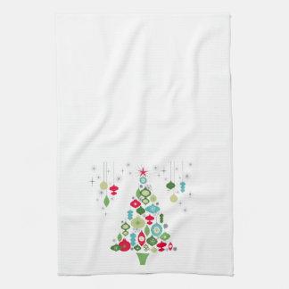 modern vintage retro christmas tree kitchen towel