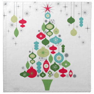 modern vintage retro christmas tree napkin
