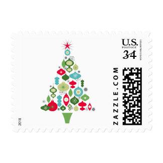 modern vintage retro christmas tree postage