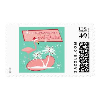 Modern vintage retro holiday flamingo post stamp