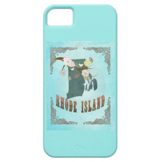 Modern Vintage Rhode Island State Map – Aqua Blue iPhone 5 Covers