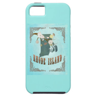 Modern Vintage Rhode Island State Map – Aqua Blue iPhone 5 Case