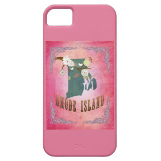 Modern Vintage Rhode Island State Map- Candy Pink iPhone 5 Covers