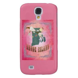Modern Vintage Rhode Island State Map- Candy Pink Samsung Galaxy S4 Cases