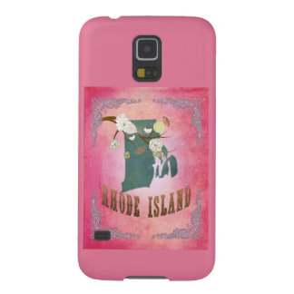Modern Vintage Rhode Island State Map- Candy Pink Galaxy S5 Cover