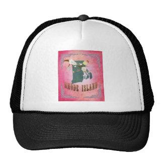 Modern Vintage Rhode Island State Map- Candy Pink Trucker Hat