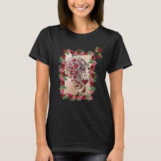 Modern Vintage Rose & Calligraphy T-Shirt