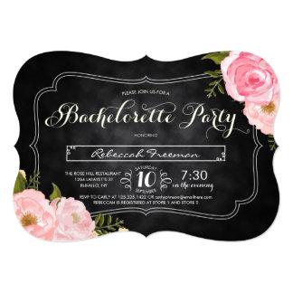 Modern Vintage Roses Chalkboard Bacherolette Party Card